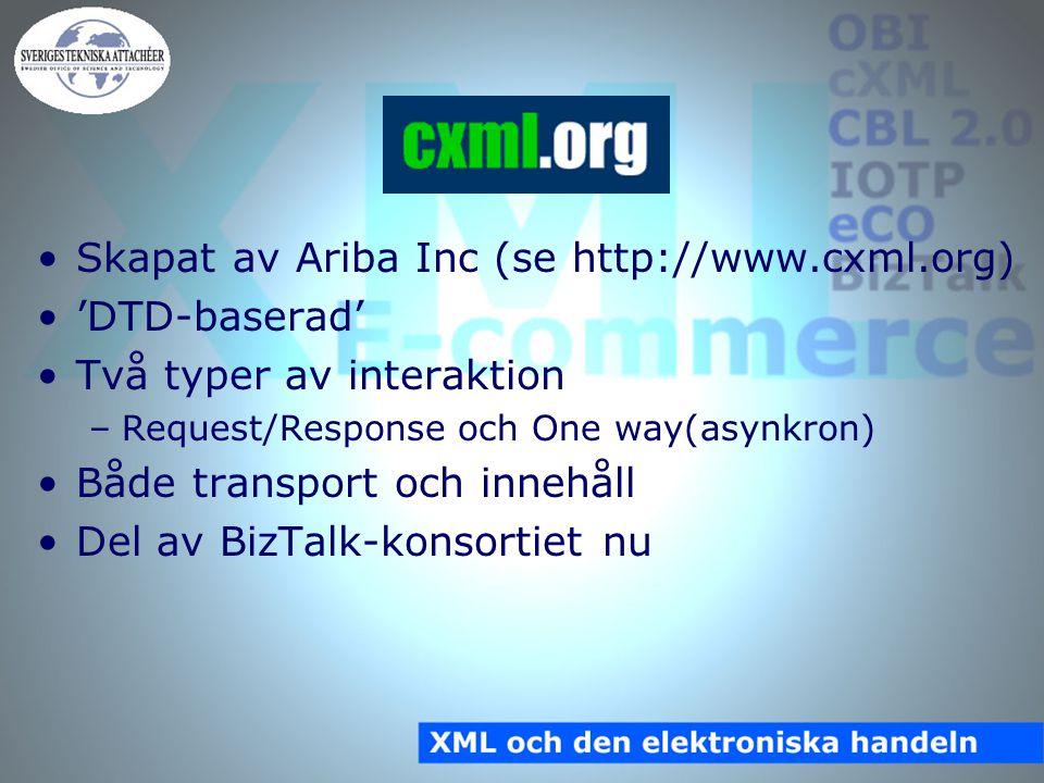 cXML Skapat av Ariba Inc (se http://www.cxml.org) 'DTD-baserad' Två typer av interaktion –Request/Response och One way(asynkron) Både transport och innehåll Del av BizTalk-konsortiet nu