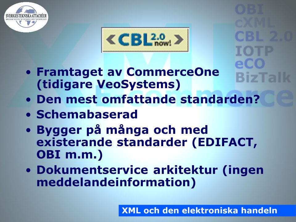 CBL 2.0 Ingående affärsdokument: –Purchase Order –Purchase Order Acknowledgement –Order Status Request –Order Status Acknowledgement –Availability Check Request –Availability Check Acknowledgement –Price Check Request –Price Check Acknowledgement –Invoice –Product Catalog –Product Catalog Update