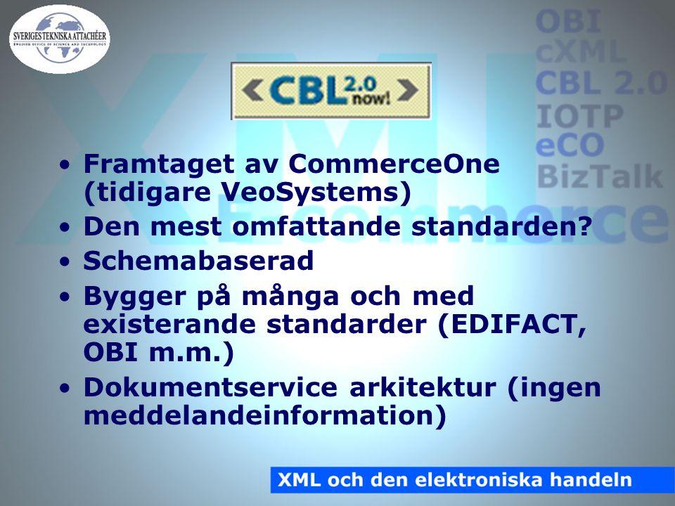 CBL 2.0 Framtaget av CommerceOne (tidigare VeoSystems) Den mest omfattande standarden.