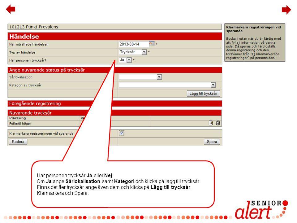 Klicka på punktprevalensmätning igen Den nyregistrerade händelsen ses under tidigare registreringar.