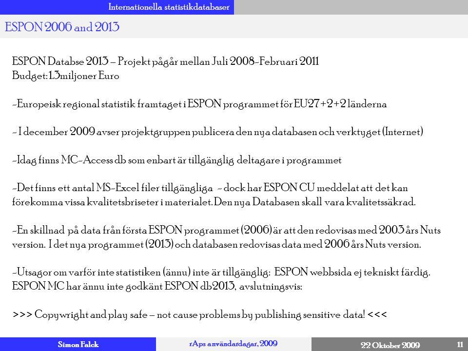 Simon Falck rAps användardagar, 2009 22 Oktober 2009 Internationella statistikdatabaser 11 ESPON 2006 and 2013 4 ESPON Databse 2013 – Projekt pågår me