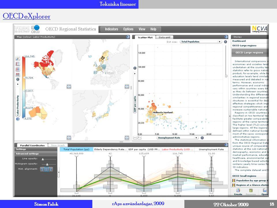 Simon Falck rAps användardagar, 2009 22 Oktober 2009 Tekniska finesser 18 OECD eXplorer 4