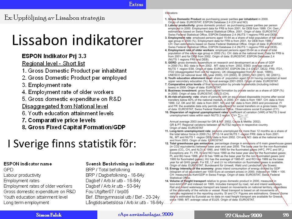 Simon Falck rAps användardagar, 2009 22 Oktober 2009 Extras 26 4 Ex: Uppföljning av Lissabon strategin Lissabon indikatorer I Sverige finns statistik