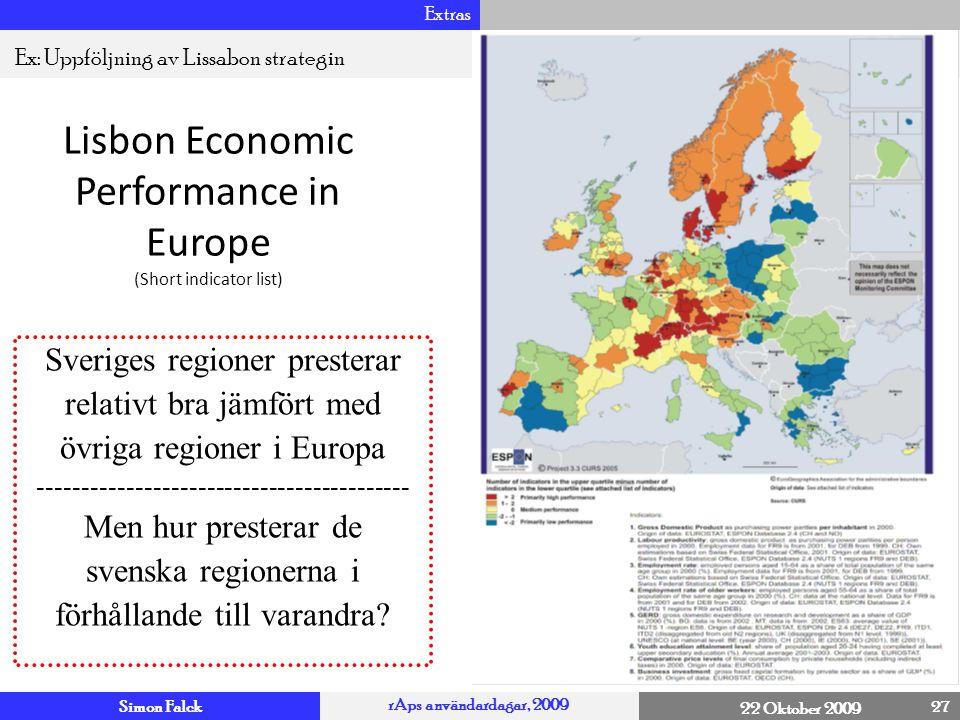 Simon Falck rAps användardagar, 2009 22 Oktober 2009 Extras 27 4 Ex: Uppföljning av Lissabon strategin Lisbon Economic Performance in Europe (Short in