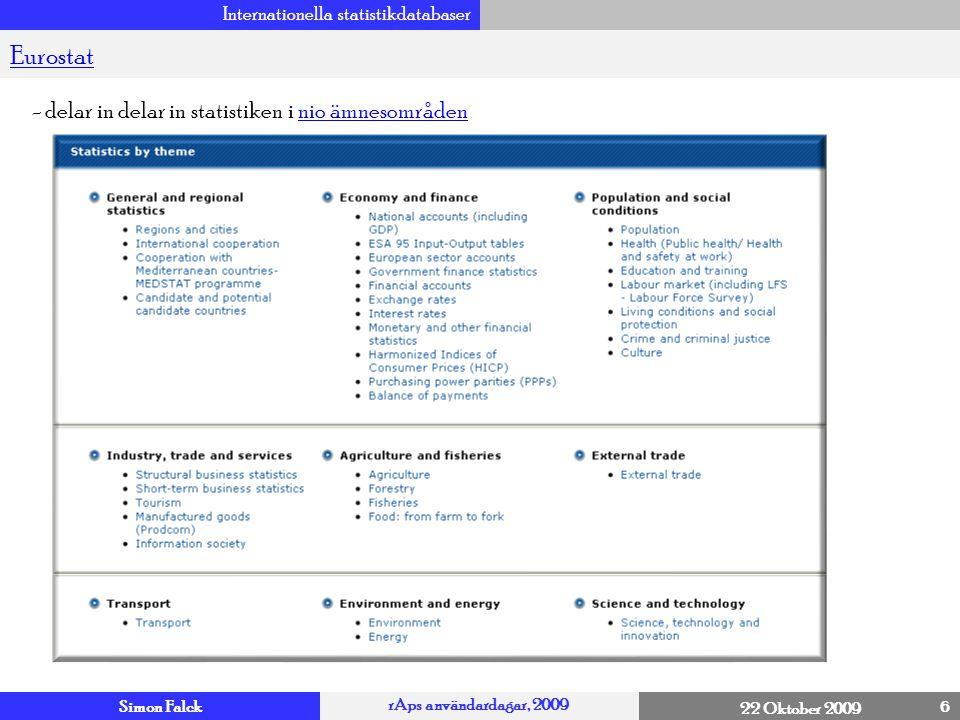 Simon Falck rAps användardagar, 2009 22 Oktober 2009 Internationella statistikdatabaser 7 Eurostat – General and Regional statistics (12 ämnesområden!) 4 NUTS NUTS version 2006 Nuts 0, 1, 2, 3 Metadata och….