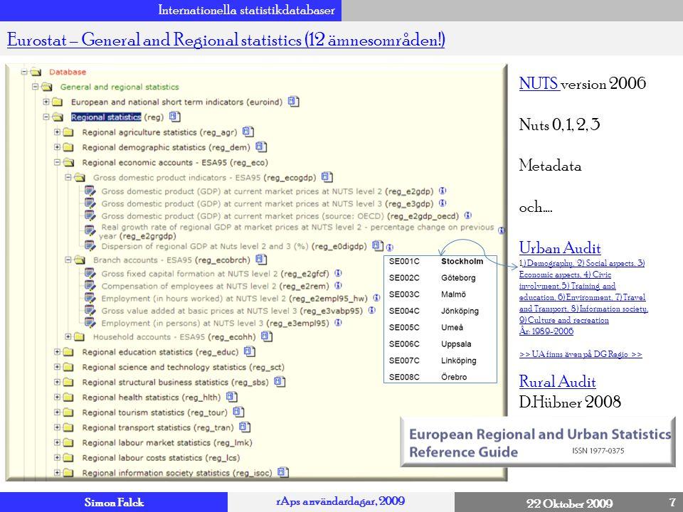 Simon Falck rAps användardagar, 2009 22 Oktober 2009 Internationella statistikdatabaser 8 Eurostat – MicrodataEurostat – Microdata – Har Du särskilda behov.