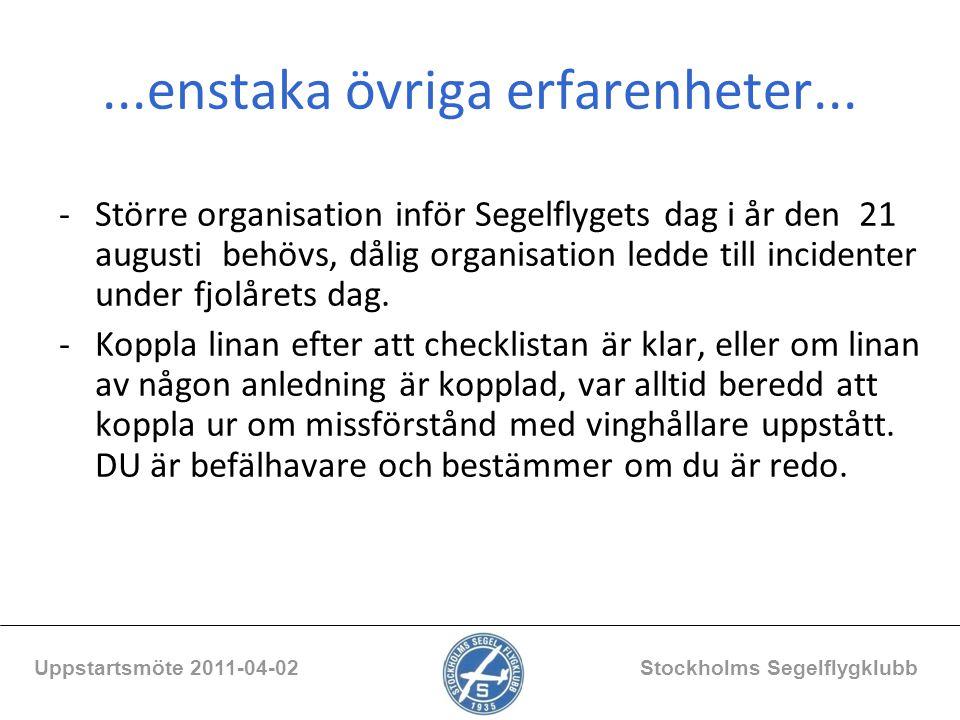 ...enstaka övriga erfarenheter... Uppstartsmöte 2011-04-02 Stockholms Segelflygklubb -Större organisation inför Segelflygets dag i år den 21 augusti b