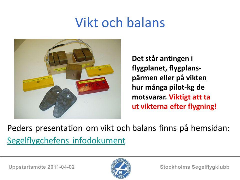 Vikt och balans Peders presentation om vikt och balans finns på hemsidan: Segelflygchefens infodokument Uppstartsmöte 2011-04-02 Stockholms Segelflygk