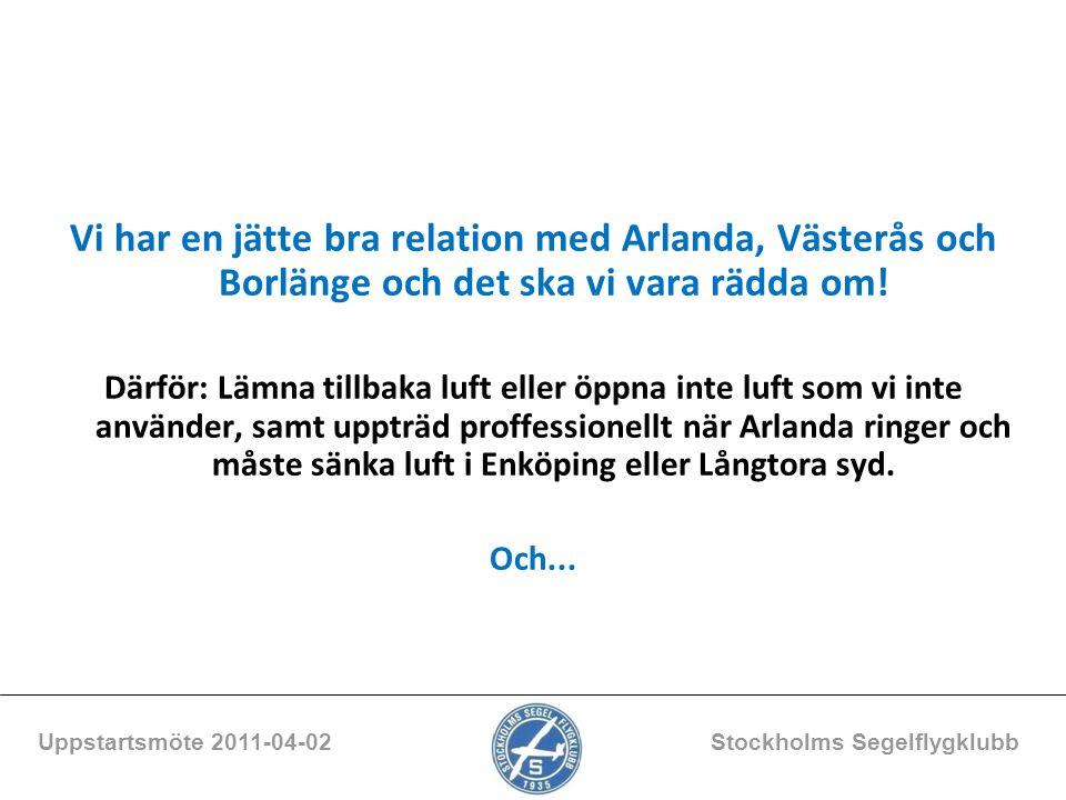 Vi har en jätte bra relation med Arlanda, Västerås och Borlänge och det ska vi vara rädda om! Därför: Lämna tillbaka luft eller öppna inte luft som vi