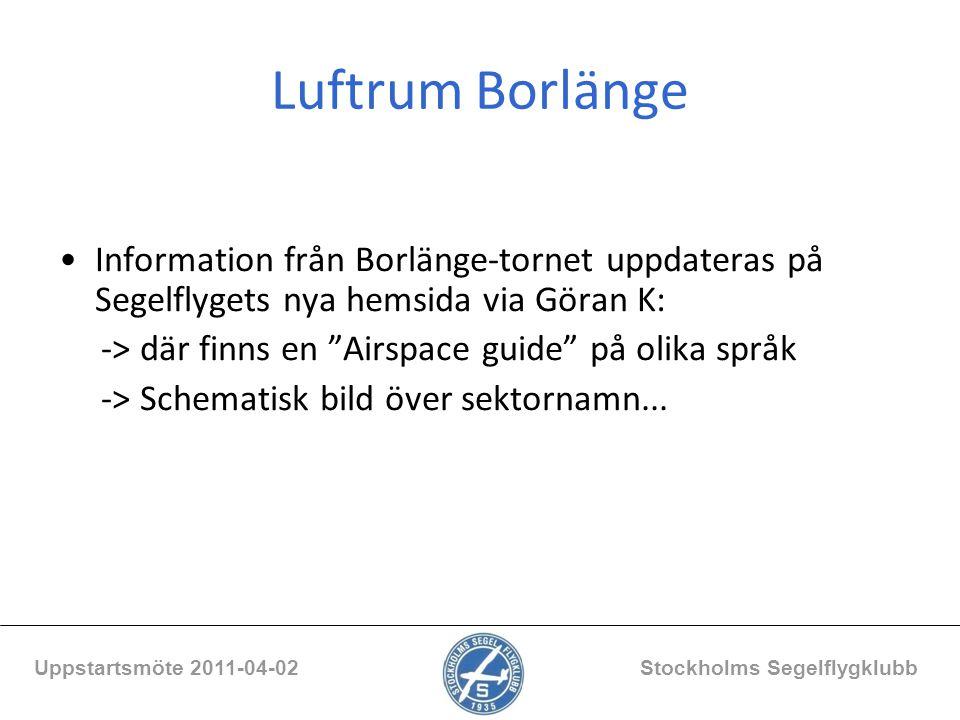 """Luftrum Borlänge Information från Borlänge-tornet uppdateras på Segelflygets nya hemsida via Göran K: -> där finns en """"Airspace guide"""" på olika språk"""