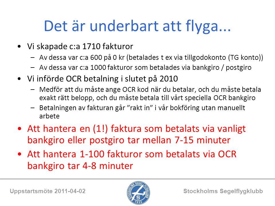 Det är underbart att flyga... Vi skapade c:a 1710 fakturor –Av dessa var c:a 600 på 0 kr (betalades t ex via tillgodokonto (TG konto)) –Av dessa var c