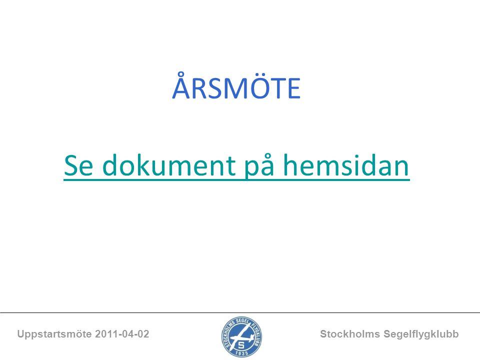 Beläggning ensitsare Uppstartsmöte 2011-04-02 Stockholms Segelflygklubb UGI UMF ULB StarterTimmarStarterTimmarStarterTimmar 200711115310513276125 2008120163132152115158 200980160116128123 2010768954613336