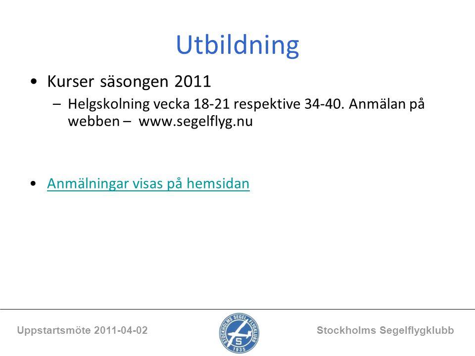 Utbildning Kurser säsongen 2011 –Helgskolning vecka 18-21 respektive 34-40. Anmälan på webben – www.segelflyg.nu Anmälningar visas på hemsidan Uppstar
