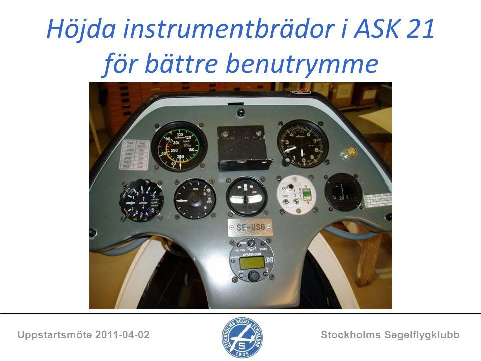 Uppstartsmöte 2011-04-02 Stockholms Segelflygklubb Höjda instrumentbrädor i ASK 21 för bättre benutrymme