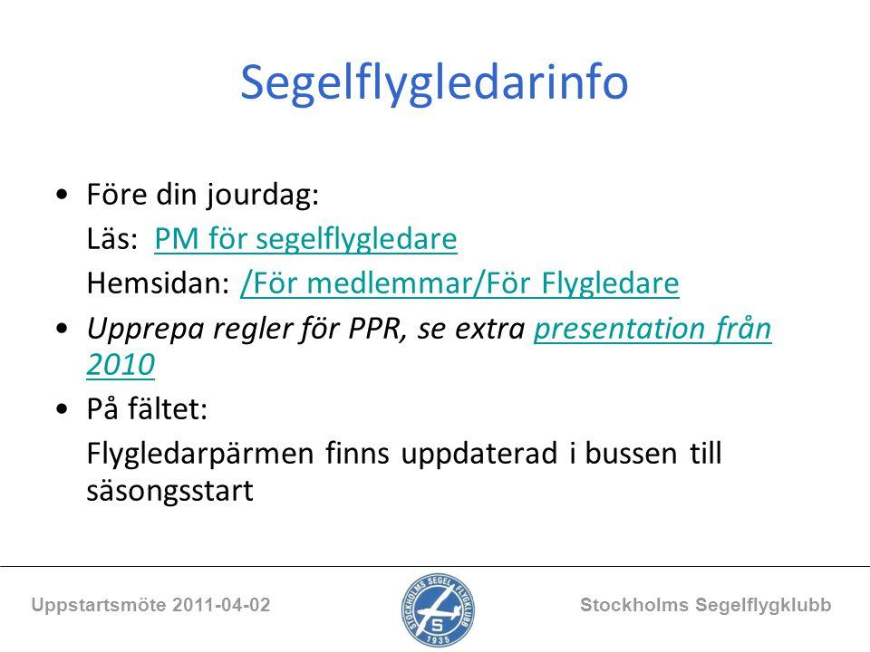 Erfarenheter andra klubbar Uppstartsmöte 2011-04-02 Stockholms Segelflygklubb -Vådainfällning av landställ i start, klämd lina, risk för linbrott -Tillbud under start med EK-elev.