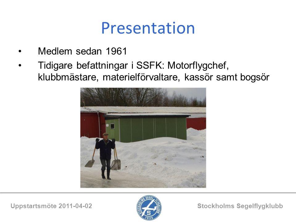 Presentation Medlem sedan 1961 Tidigare befattningar i SSFK: Motorflygchef, klubbmästare, materielförvaltare, kassör samt bogsör Uppstartsmöte 2011-04