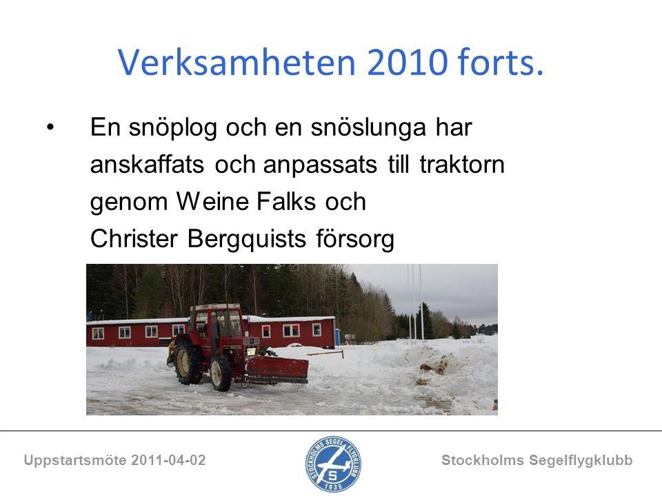 Verksamheten 2010 forts. En snöplog och en snöslunga har anskaffats och anpassats till traktorn genom Weine Falks och Christer Bergquists försorg Upps