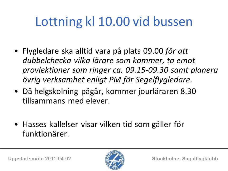Blanketter för bussen /För medlemmar/Dokumentarkiv/Blanketter/För Bussen Daglig tillsyn, luftrum, turordningslista Uppstartsmöte 2011-04-02 Stockholms Segelflygklubb