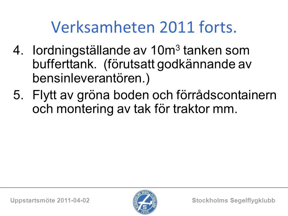 Verksamheten 2011 forts. 4.Iordningställande av 10m 3 tanken som bufferttank. (förutsatt godkännande av bensinleverantören.) 5.Flytt av gröna boden oc
