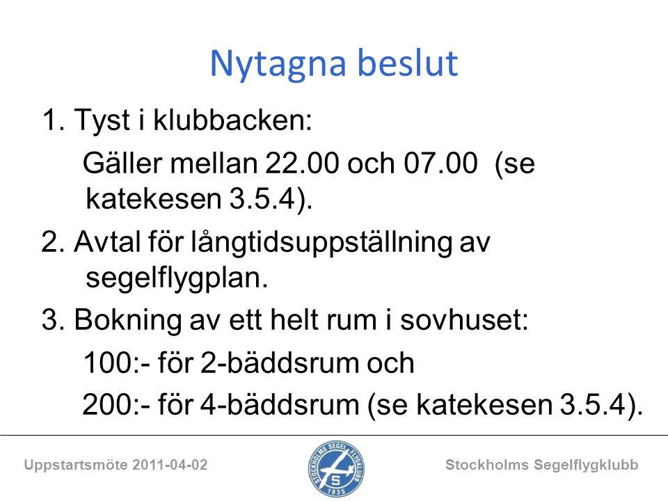 Nytagna beslut 1. Tyst i klubbacken: Gäller mellan 22.00 och 07.00 (se katekesen 3.5.4). 2. Avtal för långtidsuppställning av segelflygplan. 3. Boknin