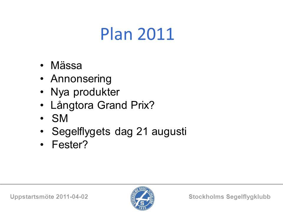 Plan 2011 Uppstartsmöte 2011-04-02 Stockholms Segelflygklubb Mässa Annonsering Nya produkter Långtora Grand Prix? SM Segelflygets dag 21 augusti Feste