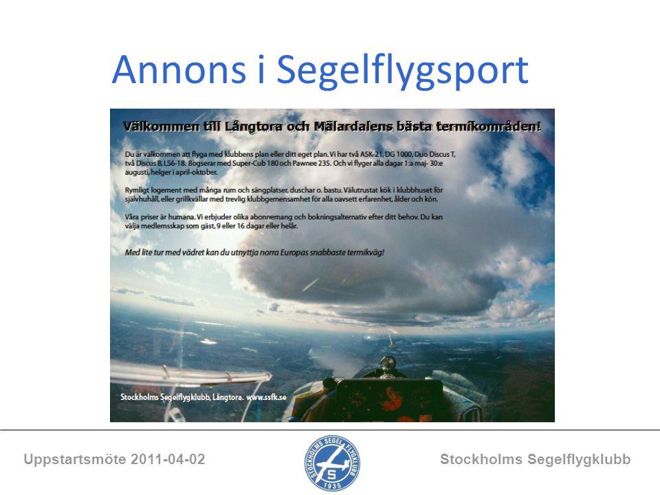 Annons i Segelflygsport Uppstartsmöte 2011-04-02 Stockholms Segelflygklubb