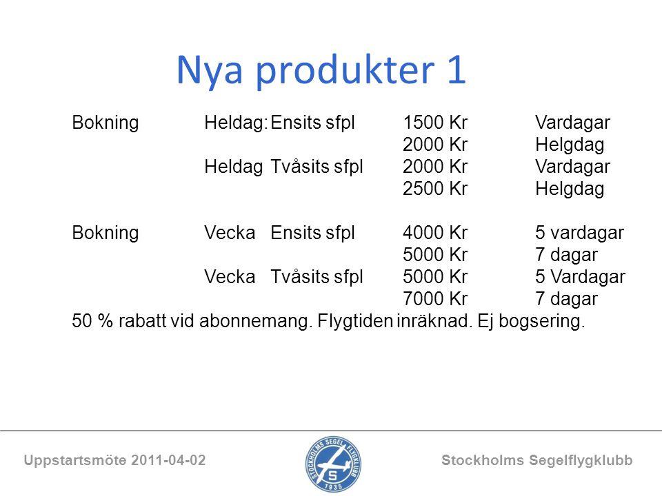 Nya produkter 1 Uppstartsmöte 2011-04-02 Stockholms Segelflygklubb BokningHeldag:Ensits sfpl1500 KrVardagar 2000 KrHelgdag HeldagTvåsits sfpl2000 KrVa