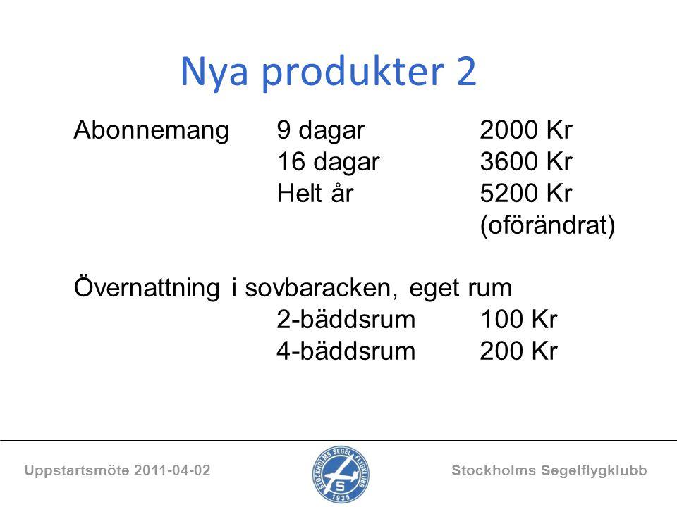 Nya produkter 2 Uppstartsmöte 2011-04-02 Stockholms Segelflygklubb Abonnemang9 dagar2000 Kr 16 dagar3600 Kr Helt år5200 Kr (oförändrat) Övernattning i