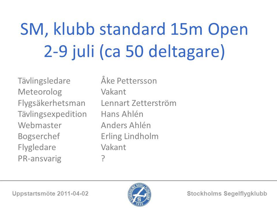 SM, klubb standard 15m Open 2-9 juli (ca 50 deltagare) Uppstartsmöte 2011-04-02 Stockholms Segelflygklubb Tävlingsledare Åke Pettersson MeteorologVaka