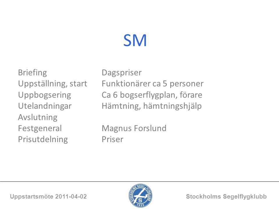 SM Uppstartsmöte 2011-04-02 Stockholms Segelflygklubb BriefingDagspriser Uppställning, startFunktionärer ca 5 personer UppbogseringCa 6 bogserflygplan