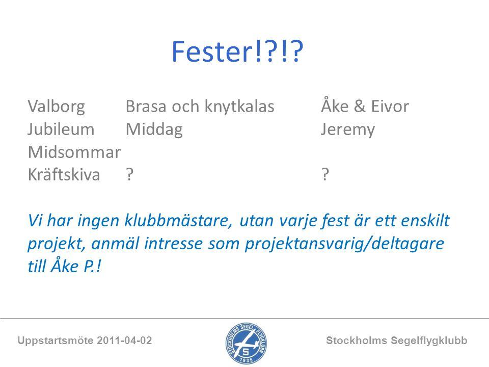 Fester!?!? Uppstartsmöte 2011-04-02 Stockholms Segelflygklubb ValborgBrasa och knytkalasÅke & Eivor JubileumMiddagJeremy Midsommar Kräftskiva?? Vi har
