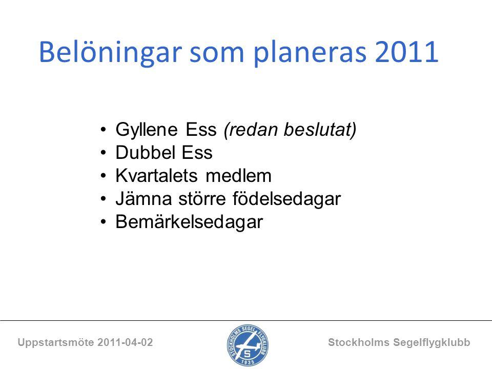 Belöningar som planeras 2011 Uppstartsmöte 2011-04-02 Stockholms Segelflygklubb Gyllene Ess (redan beslutat) Dubbel Ess Kvartalets medlem Jämna större
