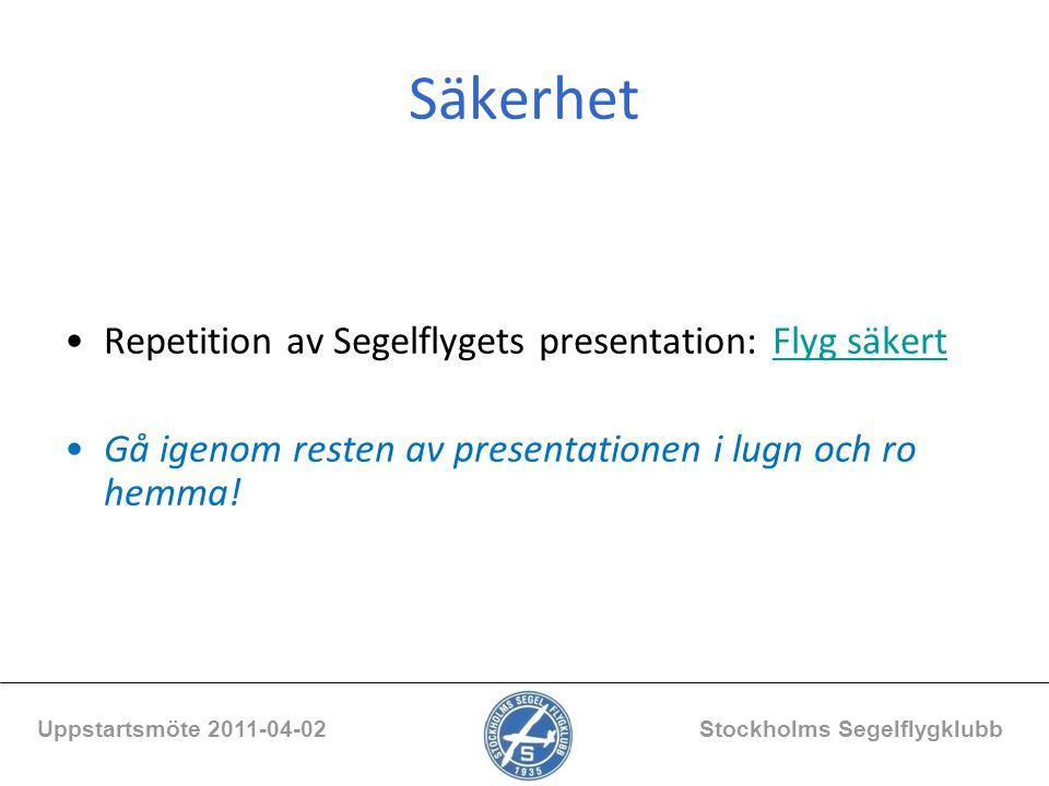 Säkerhet Repetition av Segelflygets presentation: Flyg säkertFlyg säkert Gå igenom resten av presentationen i lugn och ro hemma! Uppstartsmöte 2011-04