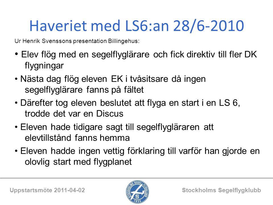 Haveriet med LS6:an 28/6-2010 Ur Henrik Svenssons presentation Billingehus: Elev flög med en segelflyglärare och fick direktiv till fler DK flygningar