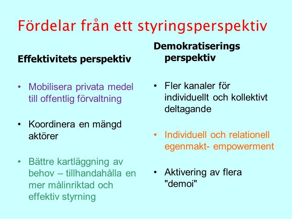 Fördelar från ett styringsperspektiv Effektivitets perspektiv Mobilisera privata medel till offentlig förvaltning Koordinera en mängd aktörer Bättre k