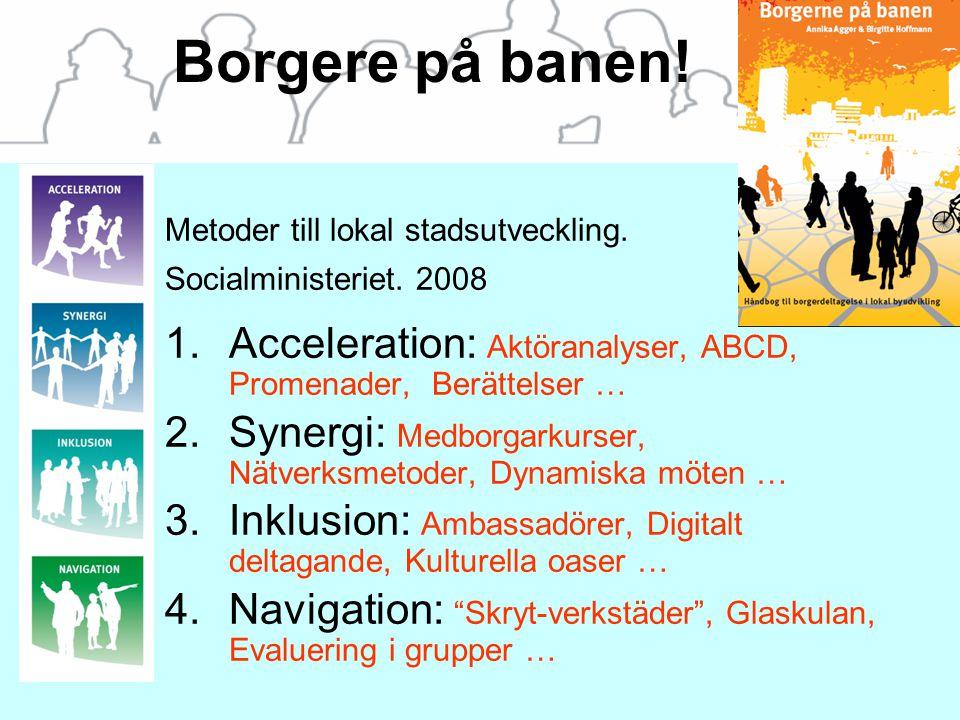 Borgere på banen! Metoder till lokal stadsutveckling. Socialministeriet. 2008 1.Acceleration: Aktöranalyser, ABCD, Promenader, Berättelser … 2.Synergi