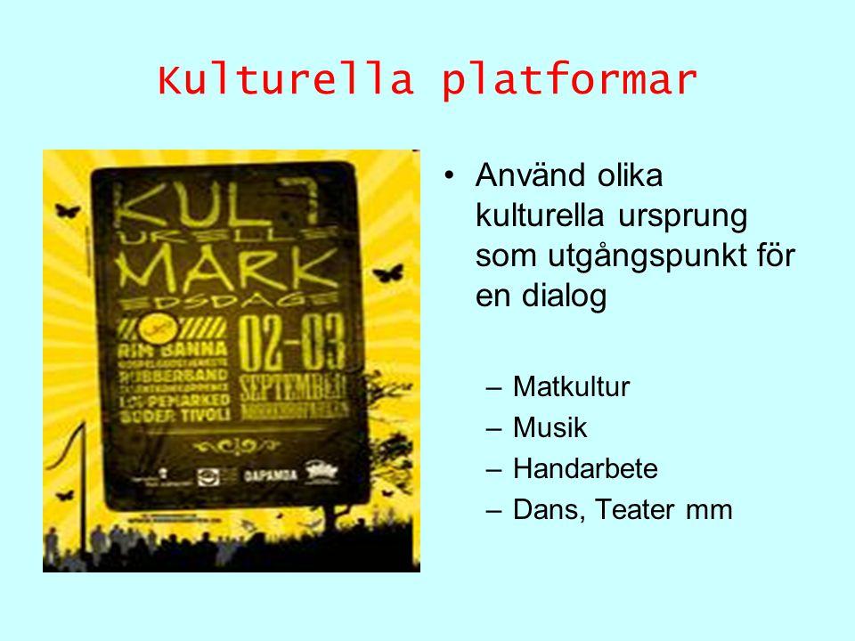 Kulturella platformar Använd olika kulturella ursprung som utgångspunkt för en dialog –Matkultur –Musik –Handarbete –Dans, Teater mm
