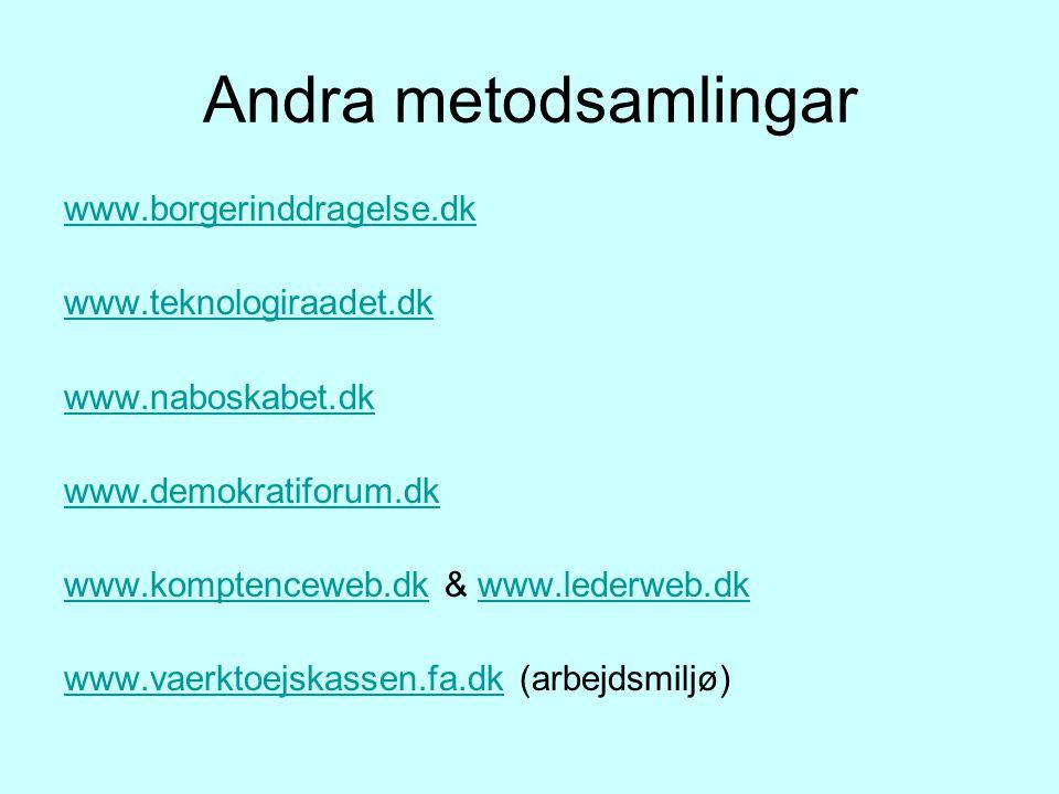 Andra metodsamlingar www.borgerinddragelse.dk www.teknologiraadet.dk www.naboskabet.dk www.demokratiforum.dk www.komptenceweb.dkwww.komptenceweb.dk & www.lederweb.dkwww.lederweb.dk www.vaerktoejskassen.fa.dkwww.vaerktoejskassen.fa.dk (arbejdsmiljø)