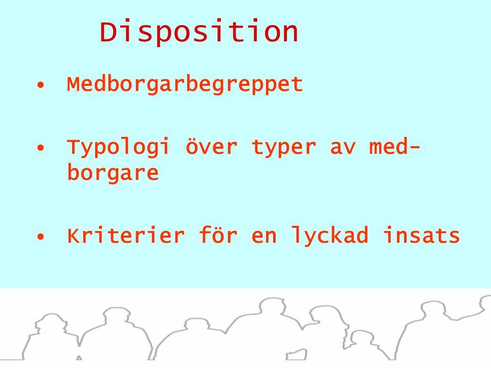 Disposition Medborgarbegreppet Typologi över typer av med- borgare Kriterier för en lyckad insats Innovative borgermetoder