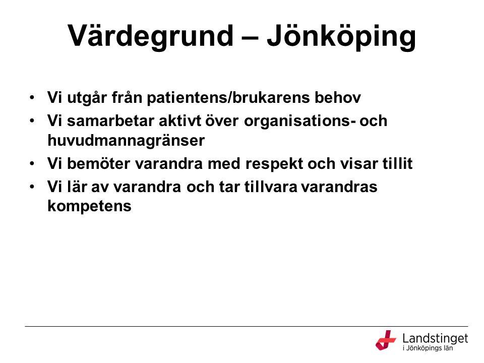 Värdegrund – Jönköping Vi utgår från patientens/brukarens behov Vi samarbetar aktivt över organisations- och huvudmannagränser Vi bemöter varandra med respekt och visar tillit Vi lär av varandra och tar tillvara varandras kompetens