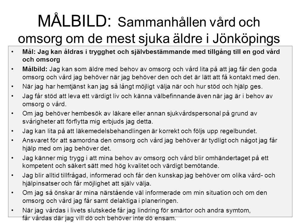 MÅLBILD: Sammanhållen vård och omsorg om de mest sjuka äldre i Jönköpings län Mål: Jag kan åldras i trygghet och självbestämmande med tillgång till en god vård och omsorg Målbild: Jag kan som äldre med behov av omsorg och vård lita på att jag får den goda omsorg och vård jag behöver när jag behöver den och det är lätt att få kontakt med den.