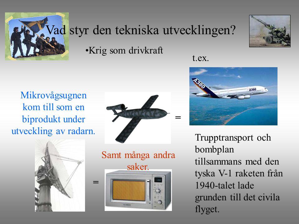 Krig som drivkraft =Mikrovågsugnen kom till som en biprodukt under utveckling av radarn.