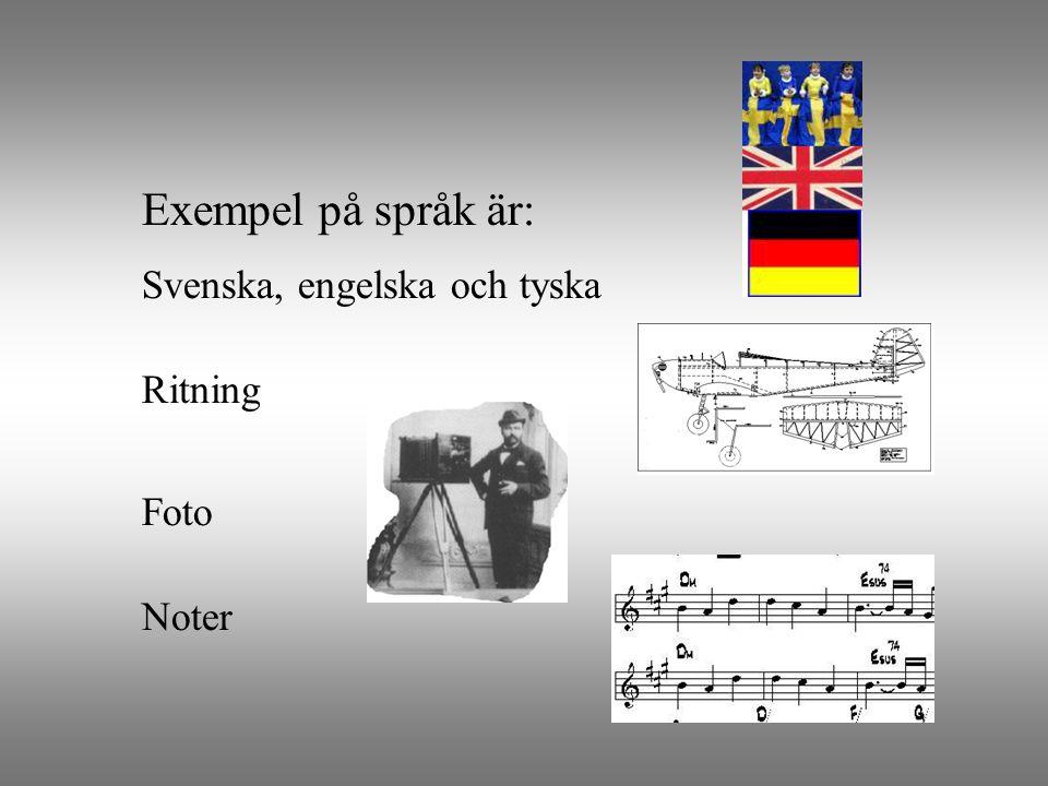 Exempel på språk är: Ritning Foto Noter Svenska, engelska och tyska