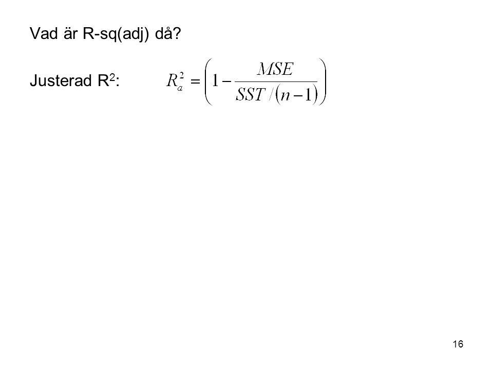 16 Vad är R-sq(adj) då? Justerad R 2 :