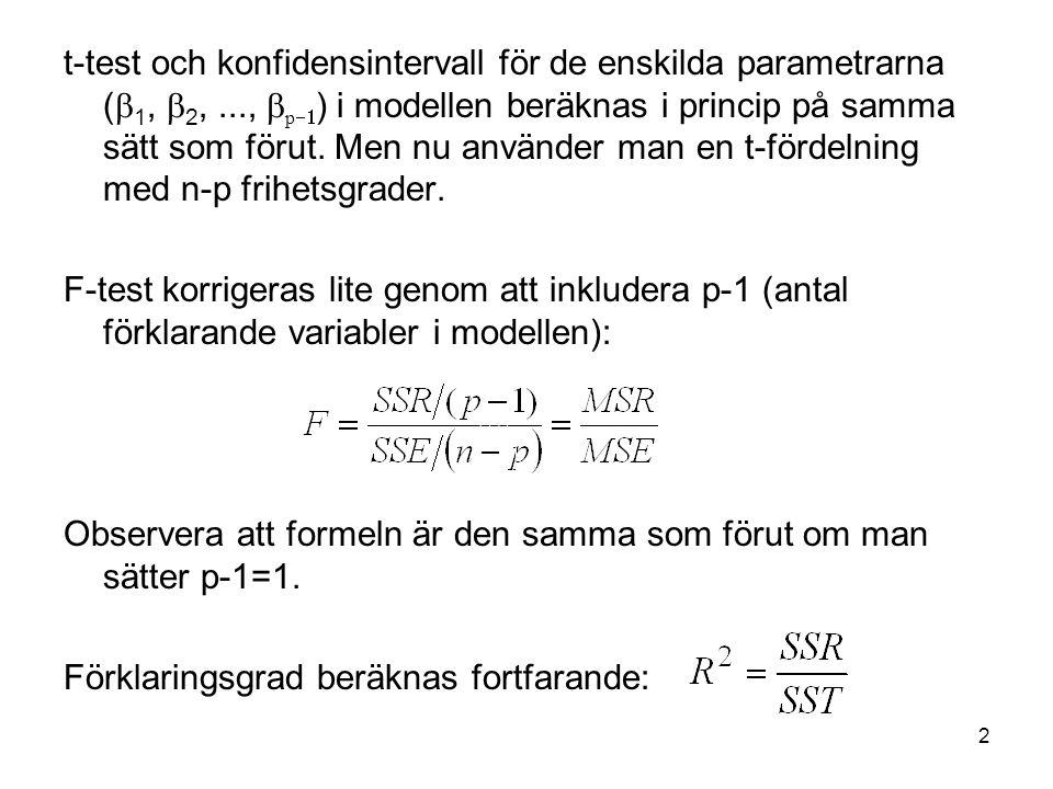2 t-test och konfidensintervall för de enskilda parametrarna (  1,  2,...,  p  ) i modellen beräknas i princip på samma sätt som förut. Men nu an