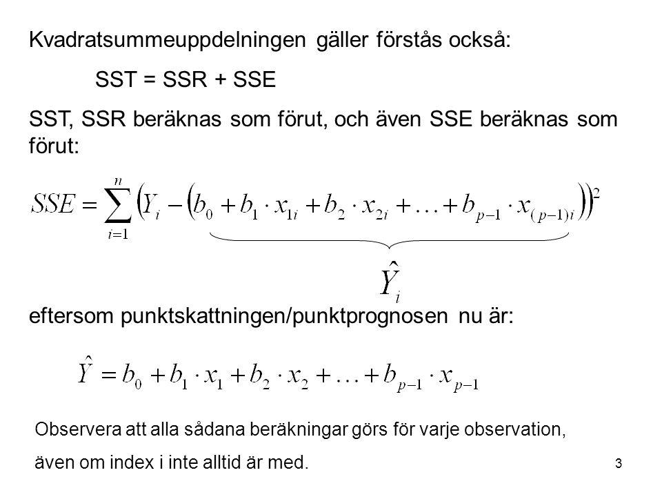 3 Kvadratsummeuppdelningen gäller förstås också: SST = SSR + SSE SST, SSR beräknas som förut, och även SSE beräknas som förut: eftersom punktskattning