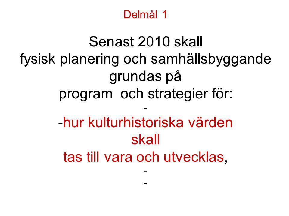 Delmål 1 Senast 2010 skall fysisk planering och samhällsbyggande grundas på program och strategier för: - -hur kulturhistoriska värden skall tas till