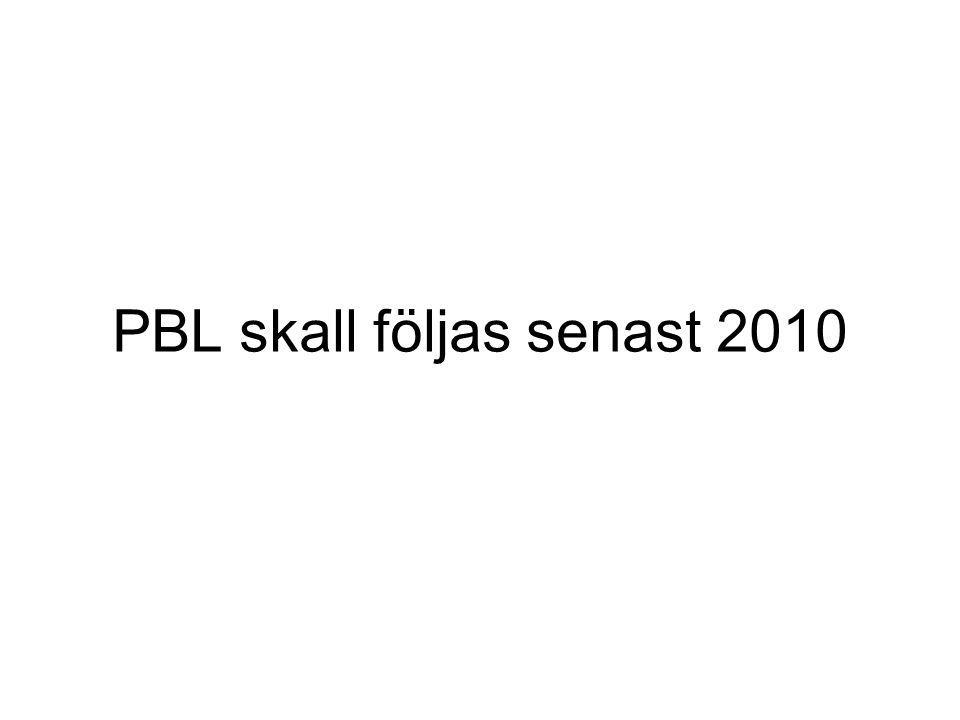 PBL skall följas senast 2010