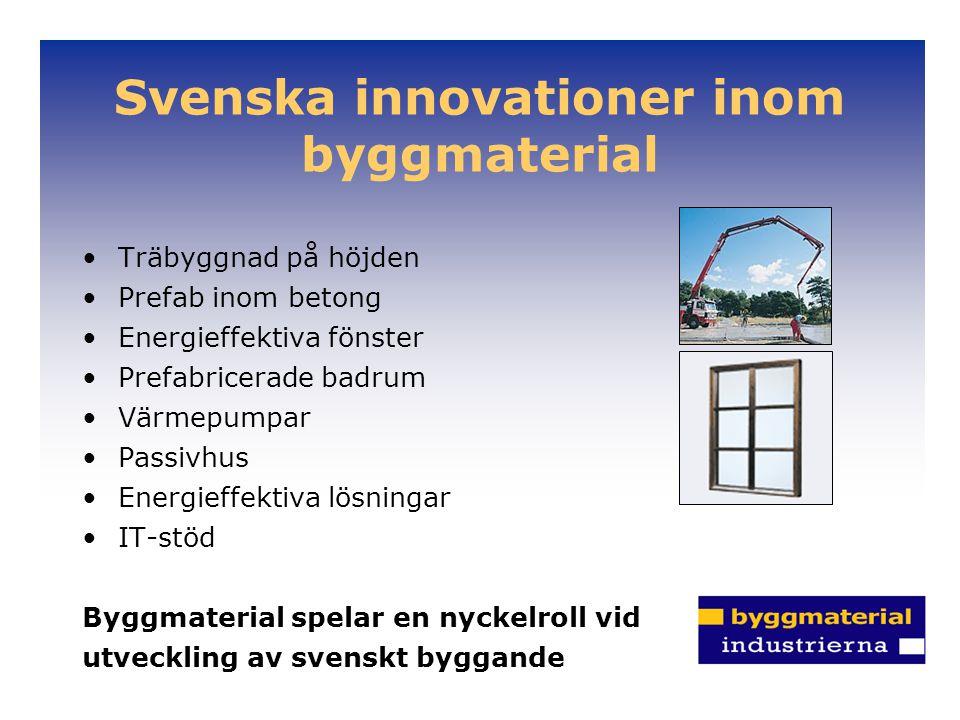 Svenska innovationer inom byggmaterial Träbyggnad på höjden Prefab inom betong Energieffektiva fönster Prefabricerade badrum Värmepumpar Passivhus Energieffektiva lösningar IT-stöd Byggmaterial spelar en nyckelroll vid utveckling av svenskt byggande