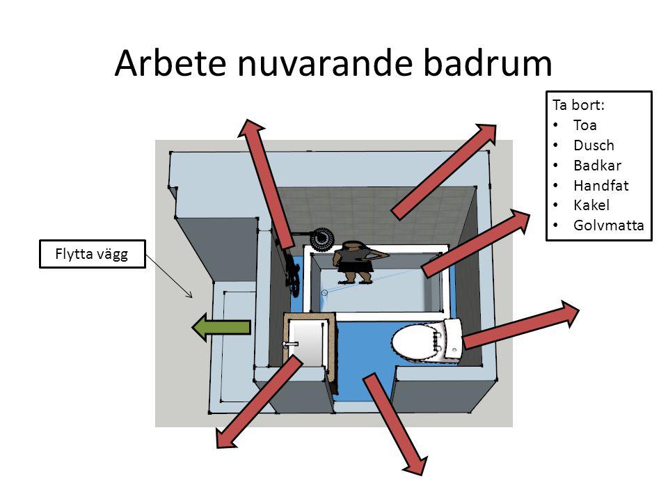 Arbete nuvarande badrum Flytta vägg Ta bort: Toa Dusch Badkar Handfat Kakel Golvmatta